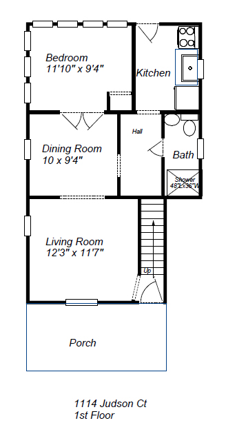 1114 Judson First Floor Plan Layout